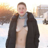 Nude Voyeur Wearing Coat on a Snow - Big Tits, Brunette Hair, Erect Nipples, Exposed In Public, Flashing, Naked Outdoors, Nude In Public, Young Woman , Nude, Snow, Naked, Slut