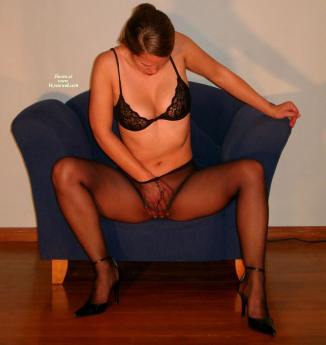 Pic #1 - Masturbation Under Pantyhose - Heels , Black Pantyhose, See Through Pantyhose, Black Panyhose, Staring At Pussy, Hand On Pussy In Pantyhose, Hose And Heels, Seated Masturbation Through Sheer Nylons, Itching Pussy, Enjoying Herself, Touch Herself, Black Lace Bra, Seated Masturbation