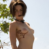 Topless Goth Chick - Dark Hair, Small Tits, Topless, Small Areolas