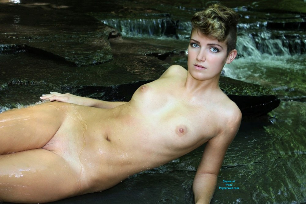 Nude Pose Lying on the Flowing Water - Nipples, Nude In Public, Nude Outdoors, Perfect Tits, Water, Wet, Young Woman , Monnie, Flowing Water, Nude, Short Hair