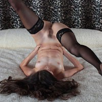 Nude Upside Down Wearing Stockings on Bed - Brown Hair, Brunette Hair, Naked In Bed, Nipples, Small Tits, Sexy Body, Sexy Lingerie