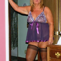 Purple Lingerie - Big Tits, Lingerie, Mature, See Through, Shaved, BBW