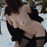 Nude With Coat on a Snow - Big Tits, Brunette Hair, Erect Nipples, Nipples, Nude Outdoors, Trimmed Pussy, Sexy Lingerie