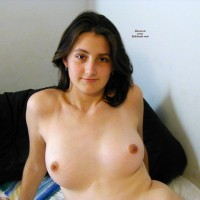 Ex GF Sandy Poses on Bed - Brunette, Shaved, Big Tits