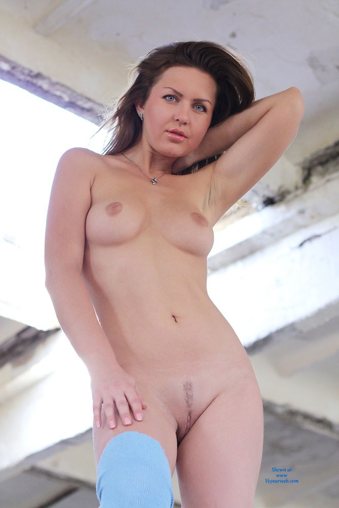 Nicole's Nude Front View - Big Tits, Brown Hair, Erect Nipples, Hanging Tits, Natural Tits, Trimmed Pussy, Young Woman , Necklace, Nude, Front View, Blue Eyes