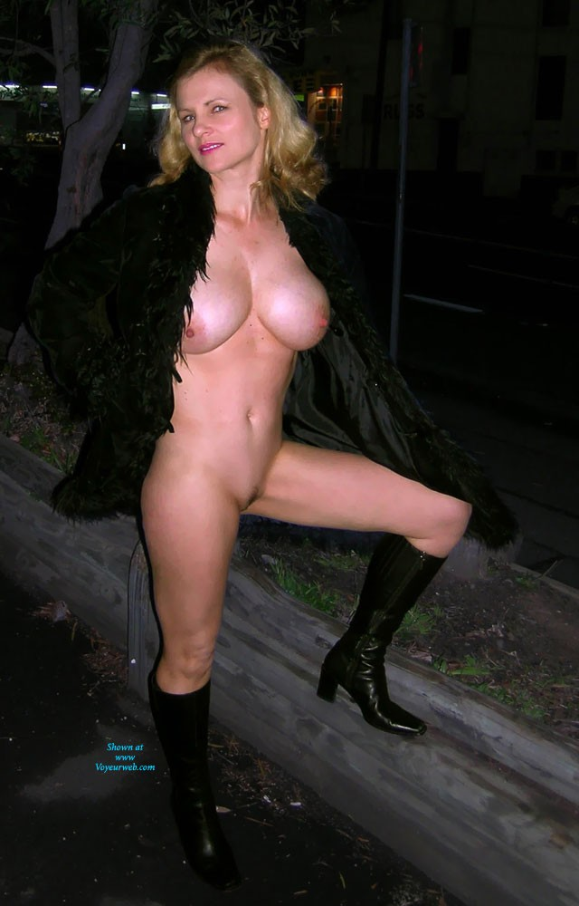 Sexy Blonde Flashing At Night - January, 2014 - Voyeur Web -6778