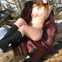 Playing in The Snow - Big Tits, Body Piercings, Nature