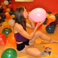 Fun In Birthday Balloons - Brunette Hair, Small Tits, Tattoo, Sexy Body, Sexy Feet, Sexy Girl, Sexy Legs, Sexy Woman, Wife/Wives