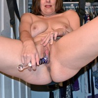 Fucking Herself in Her Swing - Big Tits, Masturbation, Shaved, Toys
