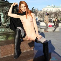 Vienna Naked Downtown - Flashing, Lingerie, Medium Tits, Public Exhibitionist, Public Place, Redhead, Shaved