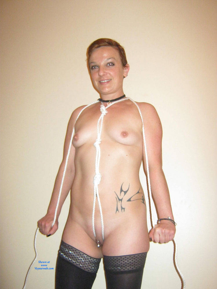 Pic #1 - Mimi in Stockings and Ropes - Perfect Tits , Mimi Just Loves Being Exposed On Voyeurweb.  Here She Is With Another Contribution In Stockings And Rope.