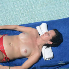 Floating Topless On the Pool - Big Tits, Bikini, Brunette Hair, Exposed In Public, Firm Tits, Nipples, Perfect Tits, Showing Tits, Topless Girl, Topless, Water, Sexy Boobs, Sexy Girl, Sexy Legs, Sexy Woman