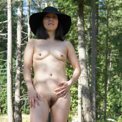 Shaved Asian on Bowen Island - Brunette, Nature, Small Tits, Wife/Wives, Asian