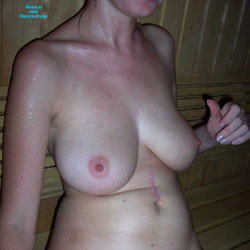 Day in The Sauna With a Hairy Bush - Big Tits, Bush Or Hairy, Wet