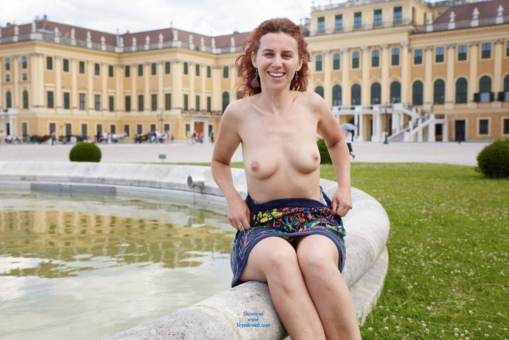Pic #7 Lena in Schonbrunn - Big Tits, Flashing, Public Exhibitionist, Public Place, Redhead, Shaved