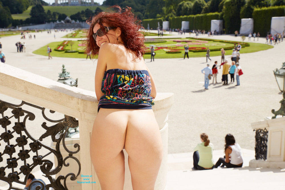 Pic #8 Lena in Schonbrunn - Big Tits, Flashing, Public Exhibitionist, Public Place, Redhead, Shaved