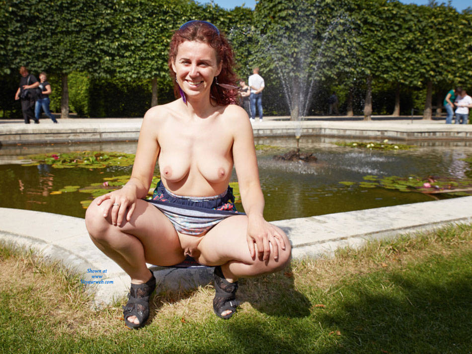 Pic #4 Lena in Schonbrunn - Big Tits, Flashing, Public Exhibitionist, Public Place, Redhead, Shaved