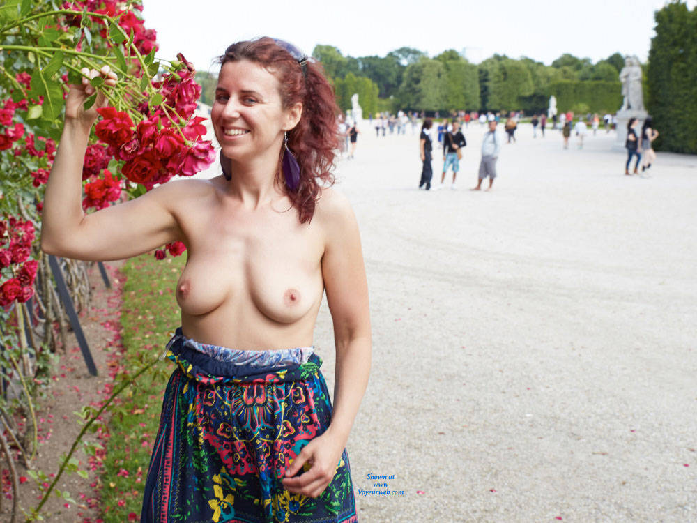 Pic #5 Lena in Schonbrunn - Big Tits, Flashing, Public Exhibitionist, Public Place, Redhead, Shaved