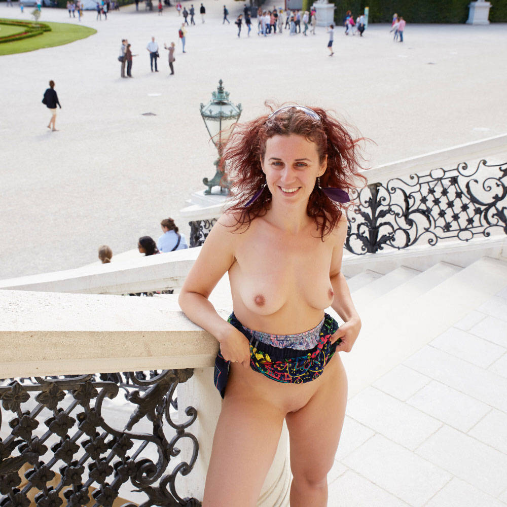 Lena in Schonbrunn - Big Tits, Exposed In Public, Flashing, Nude In Public, Redhead, Shaved , Hi,
