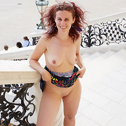 Lena in Schonbrunn - Big Tits, Exposed In Public, Flashing, Nude In Public, Redhead, Shaved