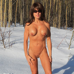 Wishing Winter Was Gone - Big Tits, Brunette Hair, Hard Nipple, Nude In Public, Shaved, Strip