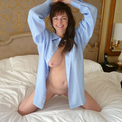 Wearing Men's Shirt On Bed - Bed, Big Tits, Brunette Hair, Flashing Tits, Flashing, Natural Tits, Shaved Pussy, Showing Tits, Hairless Pussy, Hot Girl, Pussy Flash, Sexy Body, Sexy Boobs, Sexy Face, Sexy Legs, Sexy Woman