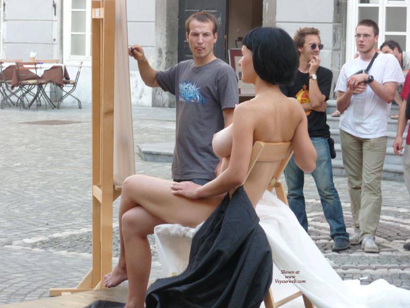 Nude model public Nude