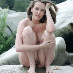 Squatting On Rock - Blue Eyes, Nude Outdoors, Shaved Pussy, Naked Girl, Nude Amateur , Naturally Pretty Face, Wind Blown Hair, Naked On Rocks, Showing Pussy, Milky Complexion, Full Bodied, Full Figure, Between The Legs Snatch, Cover Tits