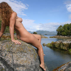 Full Nude Profile On Rocks By Lake - Blonde Hair, Dark Hair, Long Hair, Natural Tits, Perfect Tits, Naked Girl, Nude Amateur