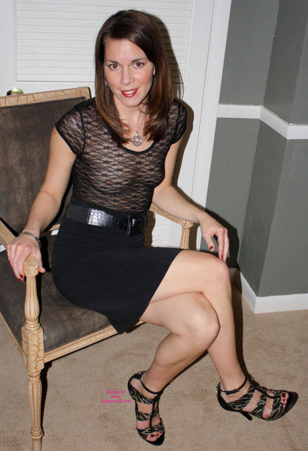Pic #1 - High Heels, Black Skirt And See Through Blouse - Flashing, Heels, Milf, See Through, Hot Wife , Black Highheel Sandals, Braless, See-through Top, Black Lace Top, Flashing Her Titties, Sheer Black Top, Sitting With See-through, Black Dress, Nude Me, Black Skirt, Exposed Titties, Dressed For Success