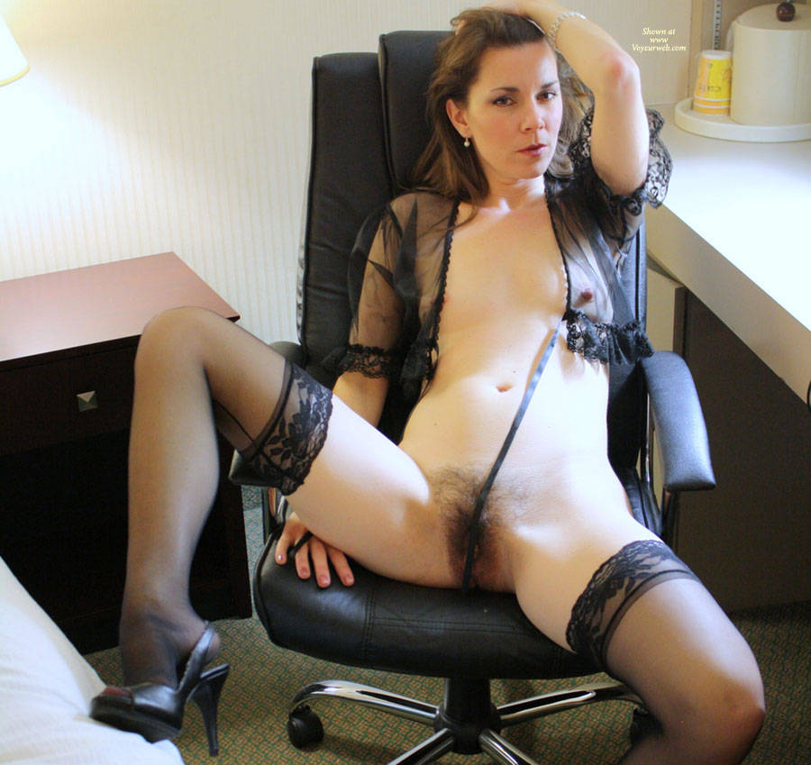 Pic #1 - Naked MILF In Black Sexy Lingerie At Hotel Desk - Dark Hair, Erect Nipples, Heels, Long Legs, Milf, Small Breasts, Spread Legs, Stockings, Sexy Lingerie, Sexy Woman , Natural Hairy, Black See Thru Top, Hairy Pussy, Foot Cleage, Arched Foot In High Heel Sandal, Relaxing At The Hotel Office
