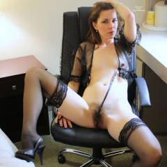 Naked MILF In Black Sexy Lingerie At Hotel Desk - Dark Hair, Erect Nipples, Heels, Long Legs, Milf, Small Breasts, Spread Legs, Stockings, Sexy Lingerie, Sexy Woman