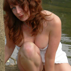 Partial Nude Sexy Milf Crouching By Water - Long Hair, Milf, Red Hair, Naked Girl, Nude Amateur