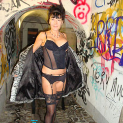 Stroll in Town - Brunette Hair, Heels, Strip, Sexy Lingerie