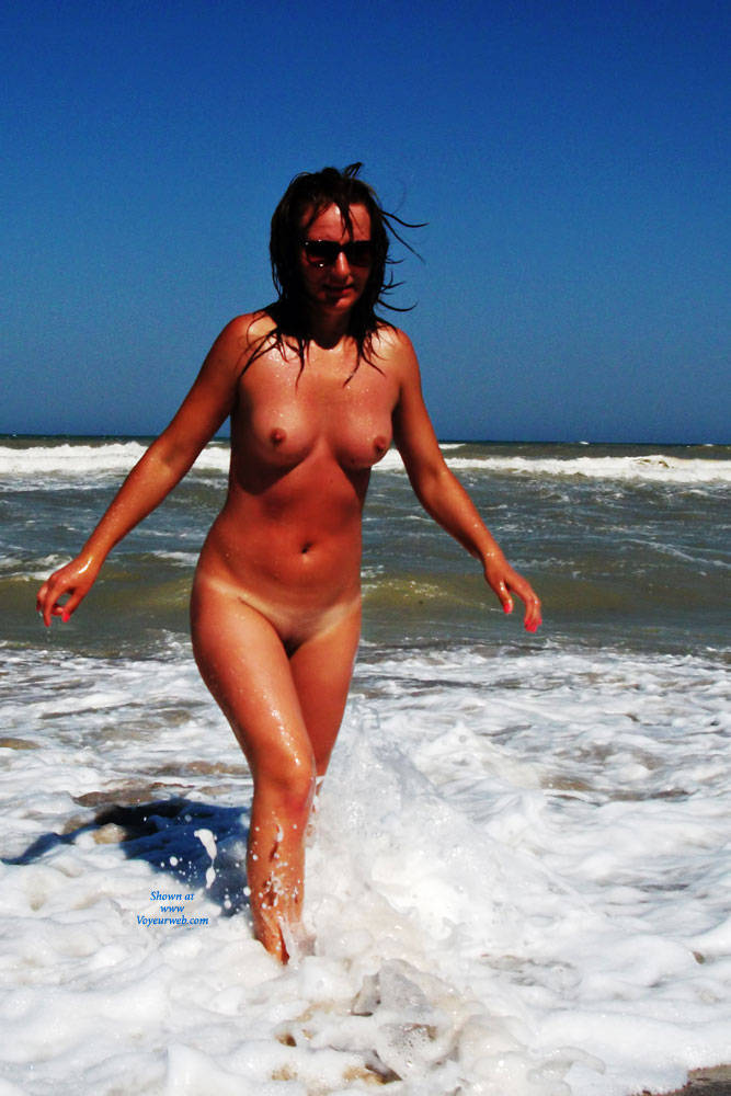 Pic #1 - More Med Frolics ! - Big Tits, Brunette Hair, Beach Voyeur , More Pics From The Rare Deserted Beaches Of The Mediterranean With Sexy Lisa !  Thanks For The Feedback - Turns Her On BIG Time !