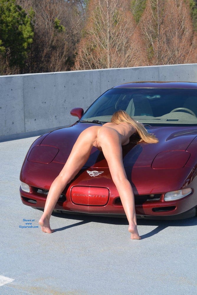 Pic #6 Parking Garage Fun Part 2 - Blonde, Public Exhibitionist, Public Place, Shaved
