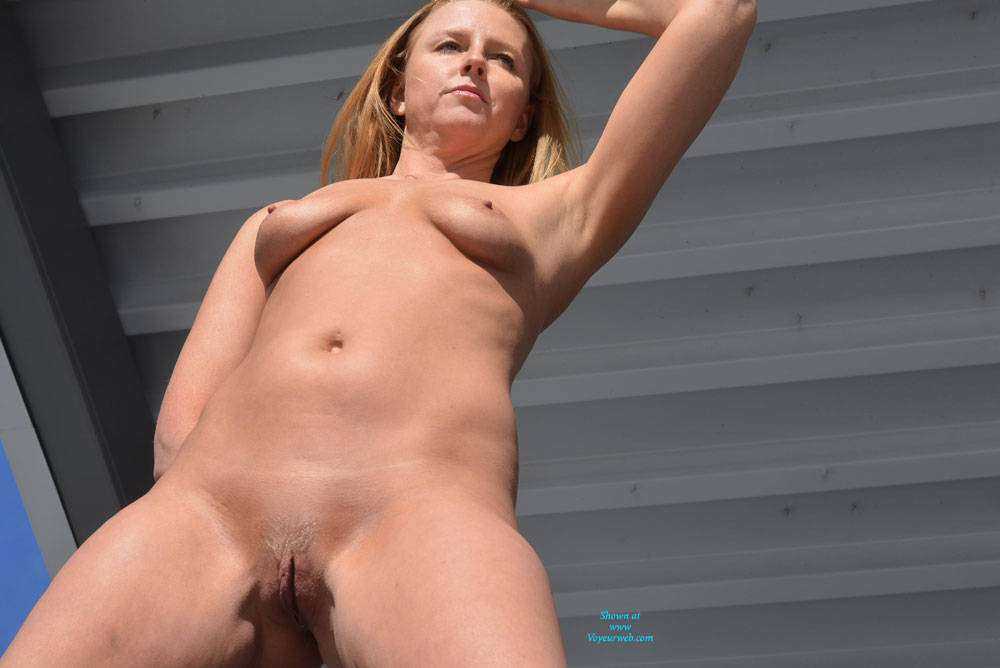 Pic #7 Parking Garage Fun Part 2 - Blonde, Public Exhibitionist, Public Place, Shaved