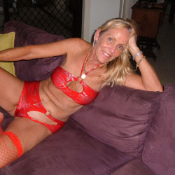 Elegant in Red - Blonde, Lingerie, Mature