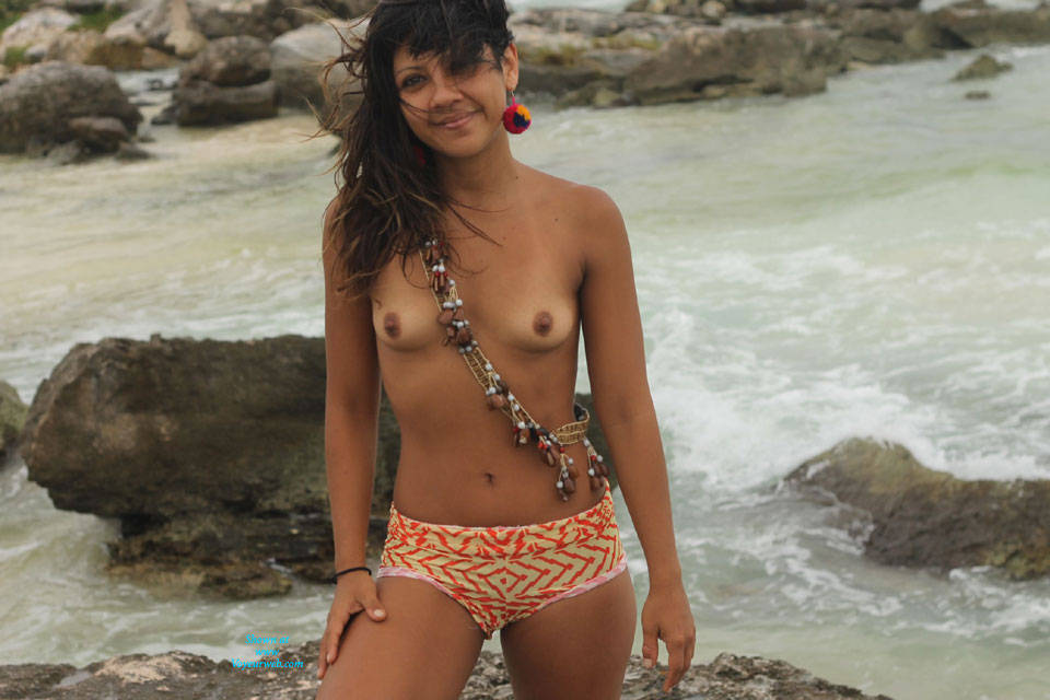 Pic #1 - Nelly in Tulum IV - Brunette Hair, Small Tits, Beach Voyeur , Another Amusement Is Nelly Make Their Own Clothes And Model It, You Say?