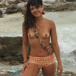 Nelly in Tulum IV - Brunette Hair, Small Tits, Beach Voyeur