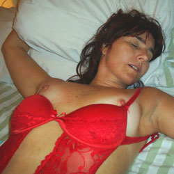 Sleeping In Red Lingerie - Bed, Brunette Hair, Erect Nipples, Firm Tits, Flashing Tits, Flashing, Hard Nipple, Nipples, Showing Tits, Sexy Boobs, Sexy Girl, Sexy Lingerie, Sexy Woman, Wife/Wives
