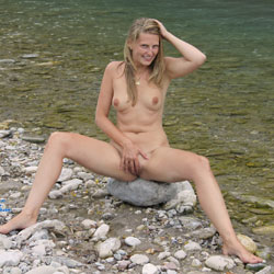 Bri At The River - Blonde, Medium Tits, Nature, Shaved
