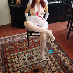 Nude Redhead Bride Sitting At Home - Big Tits, Chair, Firm Tits, Flashing Tits, Flashing, Heels, Indoors, Nipples, Red Hair, Redhead, Showing Tits, Stockings, Hot Girl, Sexy Body, Sexy Boobs, Sexy Legs, Sexy Lingerie, Sexy Woman, Wife/Wives