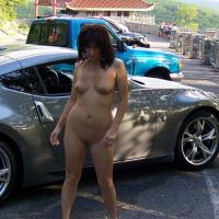 Posing With The Car Guys - Brunette, Public Exhibitionist, Public Place