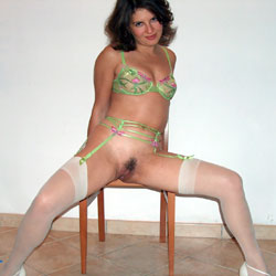 Sexy in Green - Brunette, High Heels Amateurs, Lingerie, Wife/wives