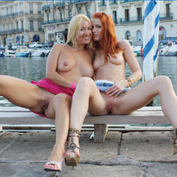 French Kisses - Big Tits, Blonde, Flashing, Public Exhibitionist, Public Place, Redhead, Shaved