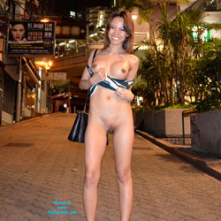 Night Flashing in Hong Kong - Big Tits, Flashing, Public Exhibitionist, Public Place, Shaved, Asian