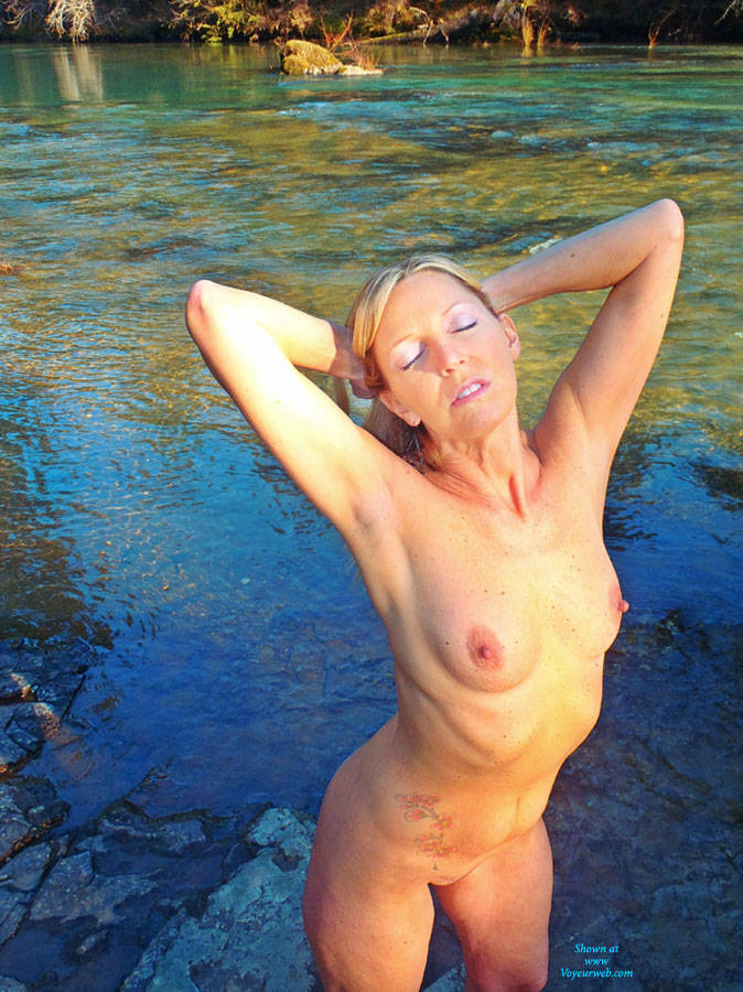 Rosa Naked and Unafraid - Big Tits, Blonde Hair, Nude In Public , Along A Wild River In The PNW, Rosa Celebrates Her Sexuality