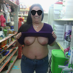 We Stopped Off at The Dollar Store - Big Tits, Brunette, Flashing, Public Exhibitionist, Public Place