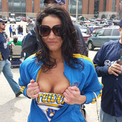Flashing Her Big Boobs - Big Tits, Brunette Hair, Exposed In Public, Flashing Tits, Flashing, Nipples, Nude In Public, Nude Outdoors, Showing Tits, Sunglasses, Sexy Boobs